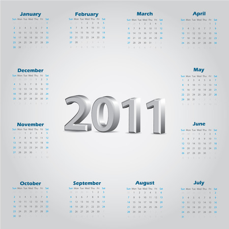 Simple 2011 calendar with 3d text Vector