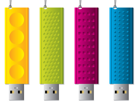 Various usb sticks with ropes Vector