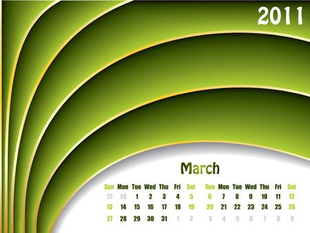 March 2011 wave design calendar  Stock Vector - 7748574