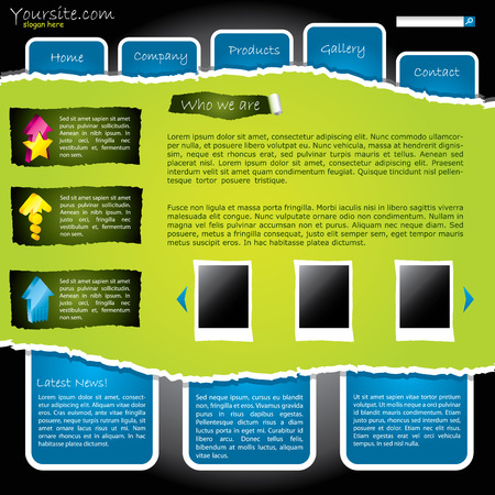 Cool green torn website with labels Vector