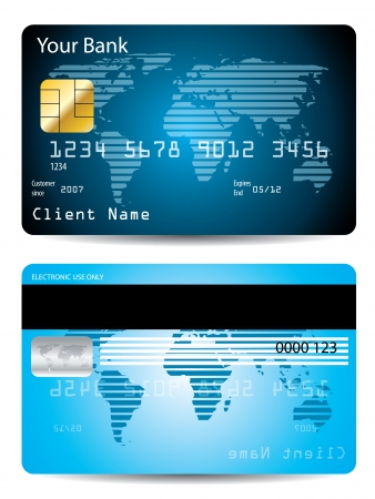 Striped world map credit card Stock Vector - 7780196