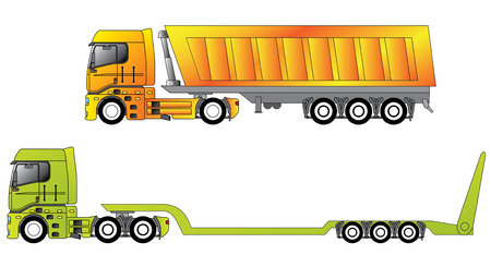 warehouse equipment: European construction site trucks  Illustration