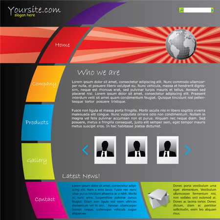 web pages: Colorful website template with bursting globe  Illustration