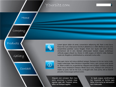 worldwide website: Gray-blue website template with arrow shaped button bar Illustration