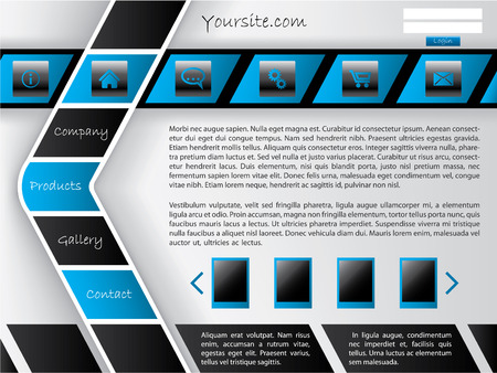 Horizontal and arrow shaped button bar website template  Vector