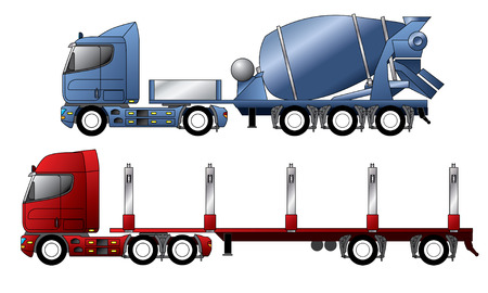 transporter: Trucks with mixer and timber trailer
