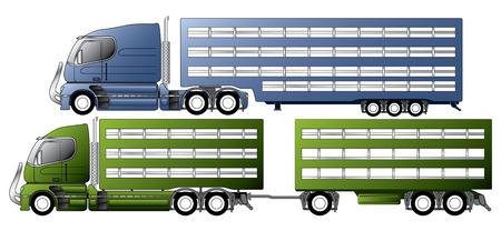 warehouse equipment: Trucks with animal transportation trailers