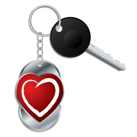 Heart design keyholder with key  Vector