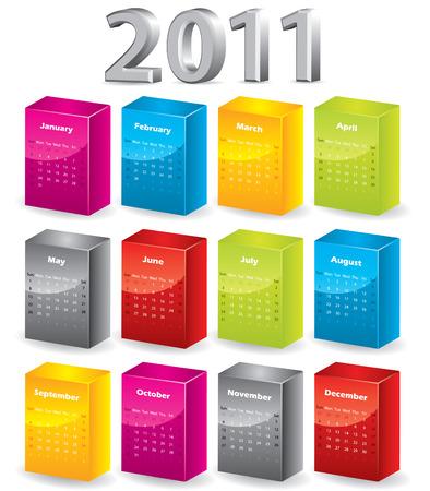 3d blocks 2011 calendar Stock Vector - 7978417