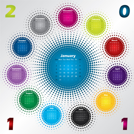 Colorful halftone calendar for year 2011  Stock Vector - 7978419