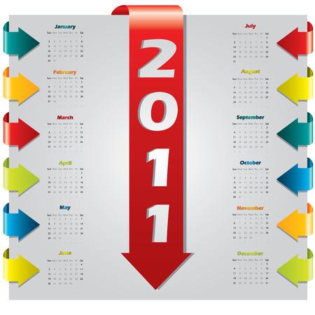 Arrow design 2011 calendar Stock Vector - 7978423