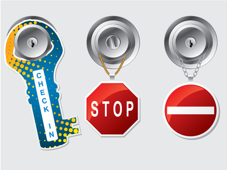 Do not disturb labels with rope and chains Vector