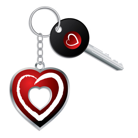 door lock love: Heart design key with keychain and keyholder Illustration