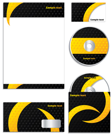 yellow notepad: Dotted and striped business set Illustration