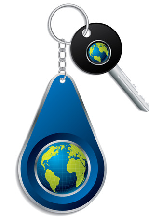 Key and globe design keyholder Stock Vector - 8031406