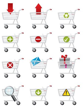 Shopping cart icons Stock Vector - 8031407