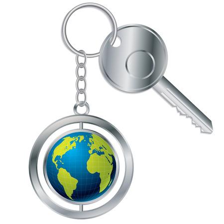 Globe keyholder Vector