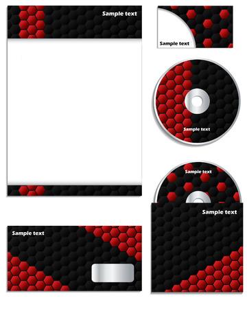 Dark hexagons business set Vector