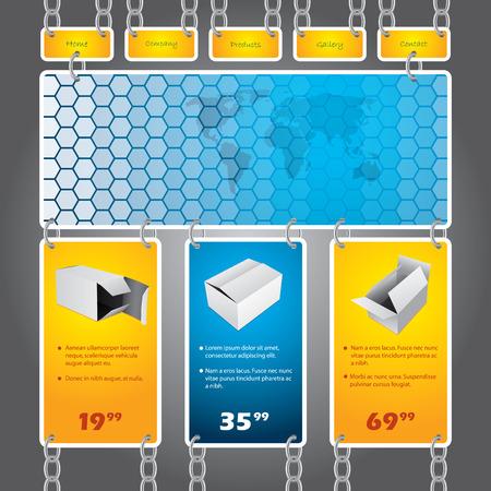 geketend: Chained websjabloon Stock Illustratie
