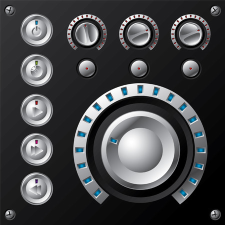 Blue led volume meter with multimedia buttons Vector