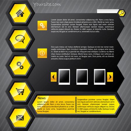 Hexa yellow web template Vector