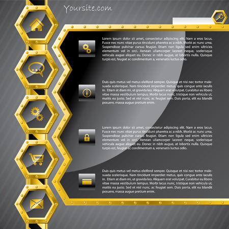 Golden hexagon website template Stock Vector - 8090778