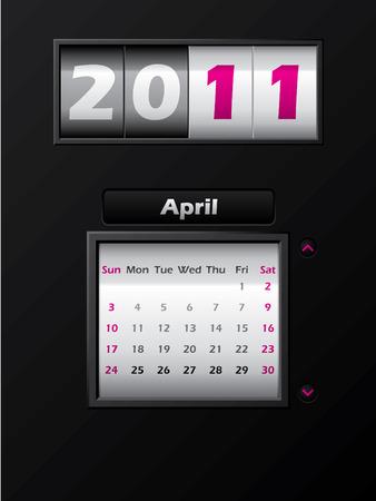 2011 april month counter calendar  Stock Vector - 8127738