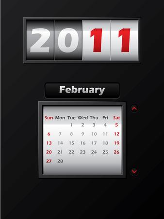 2011 february month counter calendar Stock Vector - 8127739