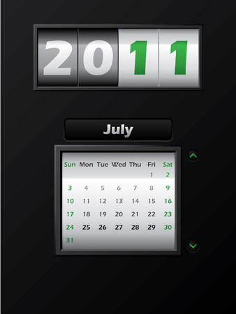 2011 july month counter calendar  Stock Vector - 8127743