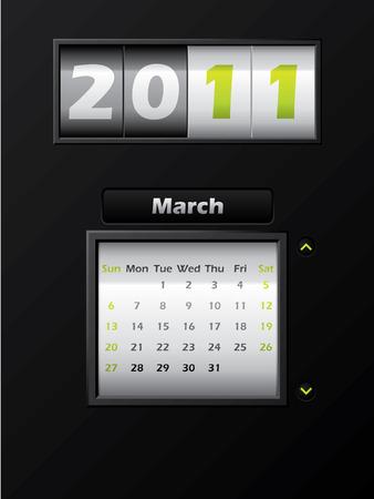 2011 march month counter calendar Stock Vector - 8127745