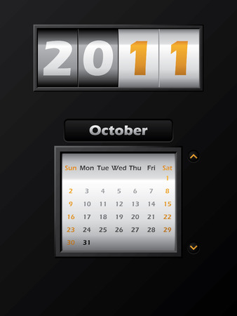 2011 october month counter calendar  Stock Vector - 8127747