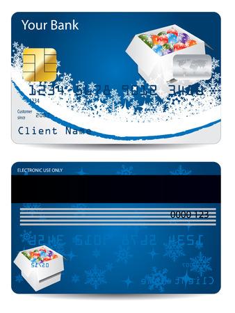 Blue christmas credit card design  Vector