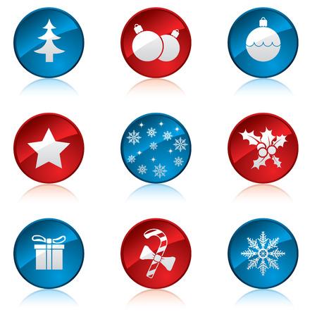 winter solstice: Christmas icon set