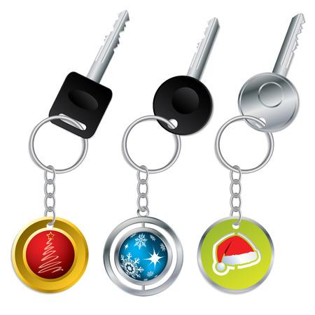 Keys with christmas theme keyholders Stock Vector - 8183892