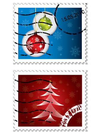Christmas postal stamps Vector
