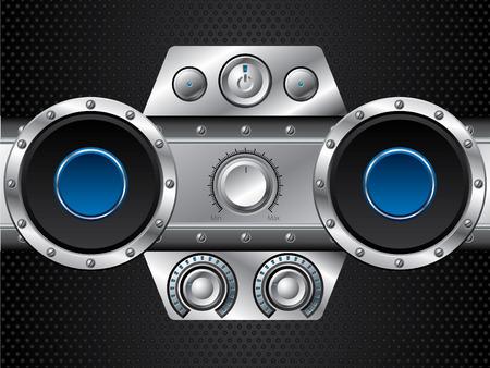 hi fi: Hi fi set with speakers Illustration