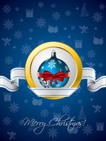 Blue christmas greeting with ribbon design  Vector