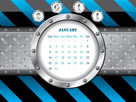 Shiny 2011 january metallic calendar Vector