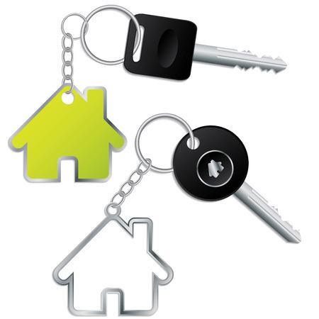 keyholder: Key with house shaped keyholder Illustration