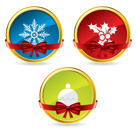 Christmas buttons with bow and ribbon Vector