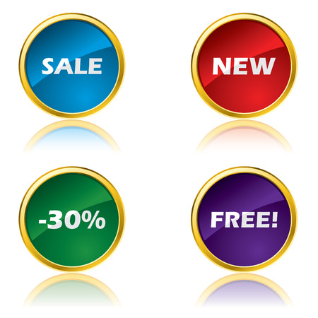Glossy advertising buttons Vector