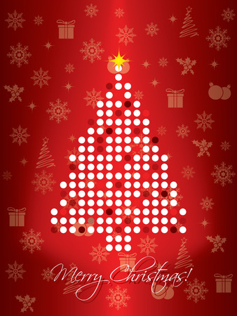 Red dotted christmas card design Vector