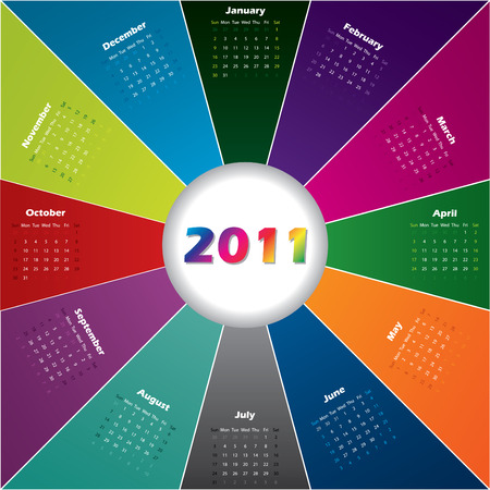 Colorful burst calendar Stock Vector - 8351897