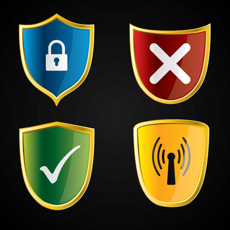 Shield icons for security Stock Vector - 8351910