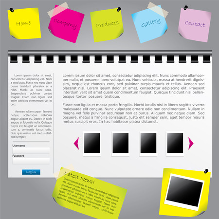 Notes website template Vector