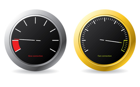 rev counter: Silver and gold framed speedometers Illustration