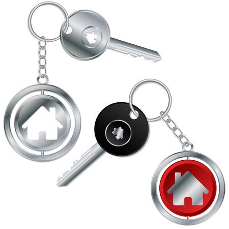keyring: Vector illustration of keys with house keyholders