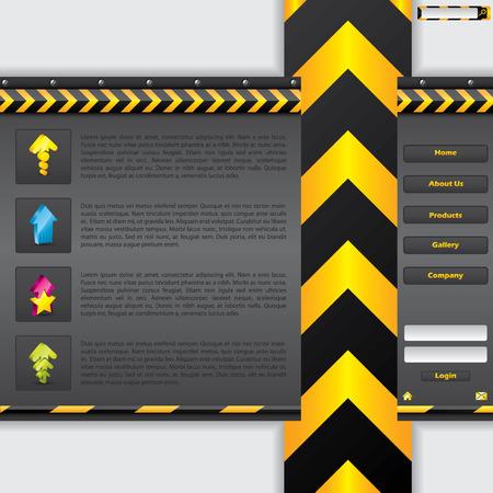 Striped arrow website design Vector