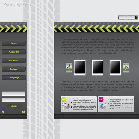 Website template with tire track Vector