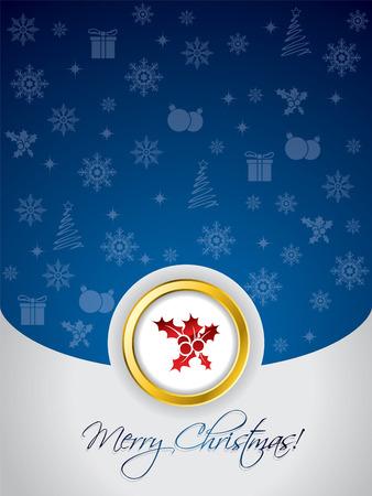 Blue christmas greeting card Vector